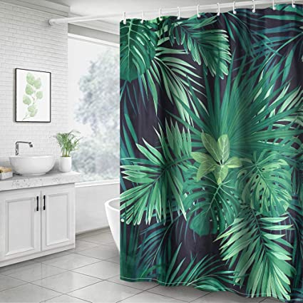 Waterproof Fabric Shower Curtain Set Green Plants Leaves Hanging Bathroom Hooks