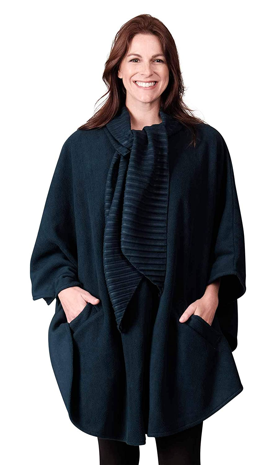 Dark Teal Le Moda Women's Wrap with Integrated Pleated Scarf   Autumn Collection   One Size Fits All