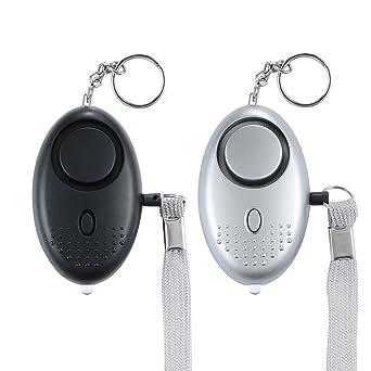 Alarma Personal, 2PCS 130 dB Alarma de Pánico con la protección de antorcha Seguridad contra violaciones - llavero alarma Defensa Personal