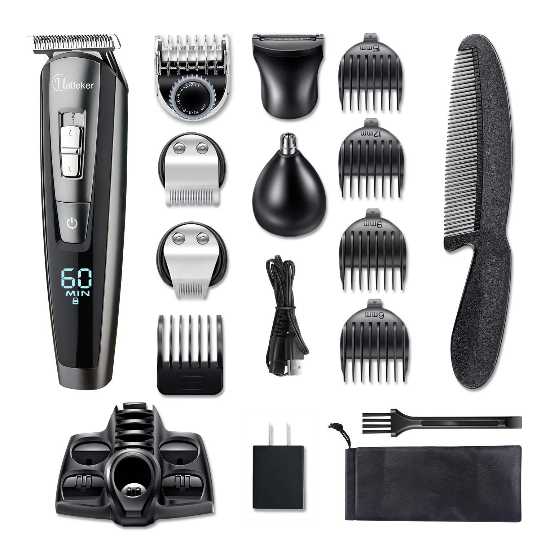 HATTEKER Beard Trimmer Kit For Men Cordless Mustache Trimmer Hair Trimmer Groomer Kit Precision Trimmer Nose Hair Trimmer Waterproof USB Rechargeable 5 In 1 by HATTEKER. (Image #7)