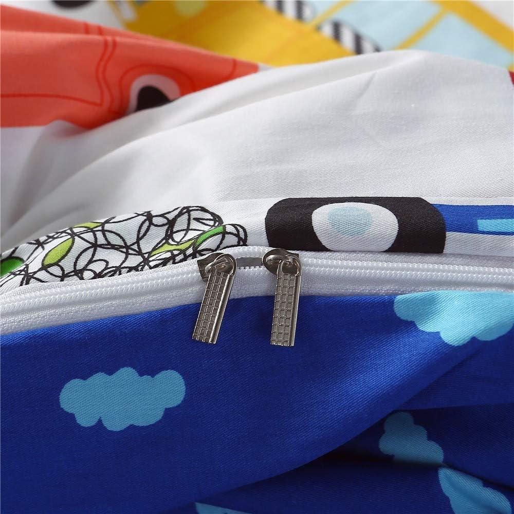 mixinni Black White Kids Duvet Cover Queen Cow Pattern Cotton Duvet Cover Set Modern Lightweight Plaid Bedding Set Zipper Closure 4 Corner Ties Teens Boys/&Girls-Queen//Full Size