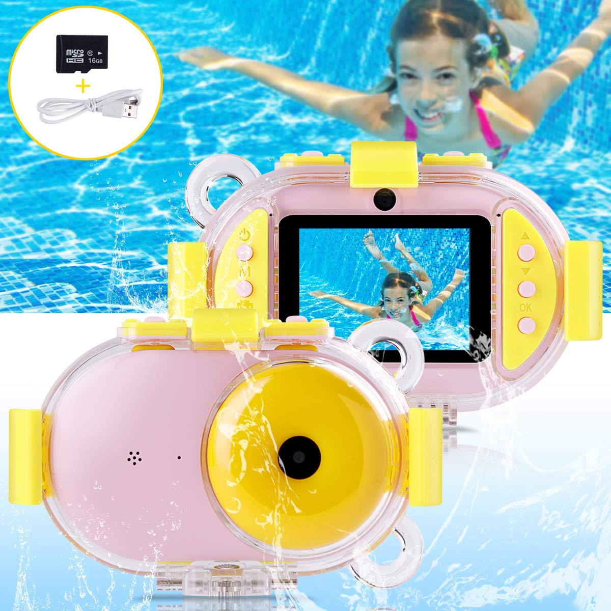 Kids Camera, OPOLEMIN Kids Waterproof Camera Kids Video Camera with Sound Playback Underwater Digital Camera Camcorderfor Kids with 16G Memory Card for Children's Day Birthday Trip Beach Swimming