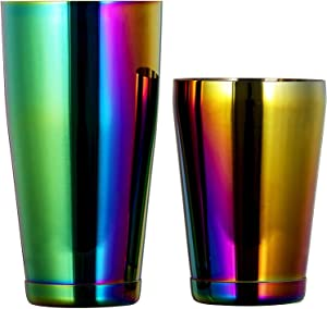 Boston Cocktail Shaker Set : Two Professional Weighted ShakerTins (18oz and 28oz)-Premium 304 Stainless Steel Martini Drink Shaker Set-Rainbow