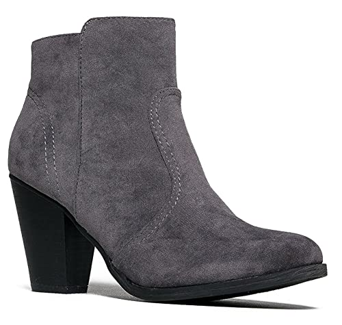 b7c4c313d4816 Breckelle's Women's HEATHER-34 Faux Suede Chunky Heel Ankle Booties