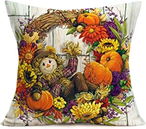 Smilyard Throw Pillow Covers Pumpkin SunflowerMaple Leaf Scarecrow Wreath Decorative Throw Pillow Case Fall Flower Plant Cotton Linen Pillowcase Home Decor Sofa Couch 18x18 Inch (BT 06)