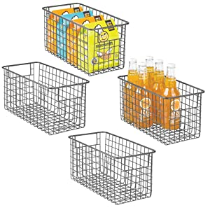 "mDesign Farmhouse Decor Metal Wire Food Storage Organizer, Bin Basket with Handles for Kitchen Cabinets, Pantry, Bathroom, Laundry Room, Closets, Garage - 12"" x 6"" x 6"" - 4 Pack - Graphite Gray"