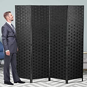 4 Panels Room Divider, Room Dividers and Folding Privacy Screens 6FT Living Room Divider Stand Wood Mesh Hand-Woven Design Freestanding Partition Wall Dividers for Office Bedroom Kids Room, Black