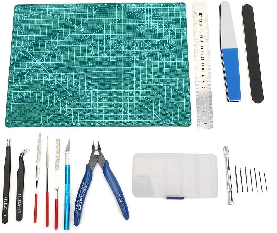 Model Tool Set DIY Modeler Craft Models Building Tweezers Ruler File Mat Kit with Storage Box Polishing Rod Manual Spiral Drill Set for Fan Toys