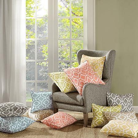 Madison Park Delray Diamond Printed Cotton Throw Pillow, Geometric Square Fashion Decorative Pillow, 14X20, Set of 2, Orange