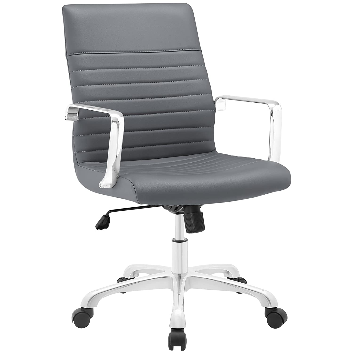 Modway Finesse Ribbed Faux Leather Mid Back Computer Desk Office Chair in Gray