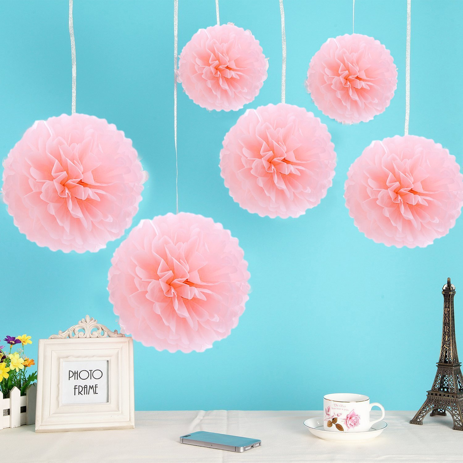"""White 16/"""" Paper Puff Hanging Party Decoration"""