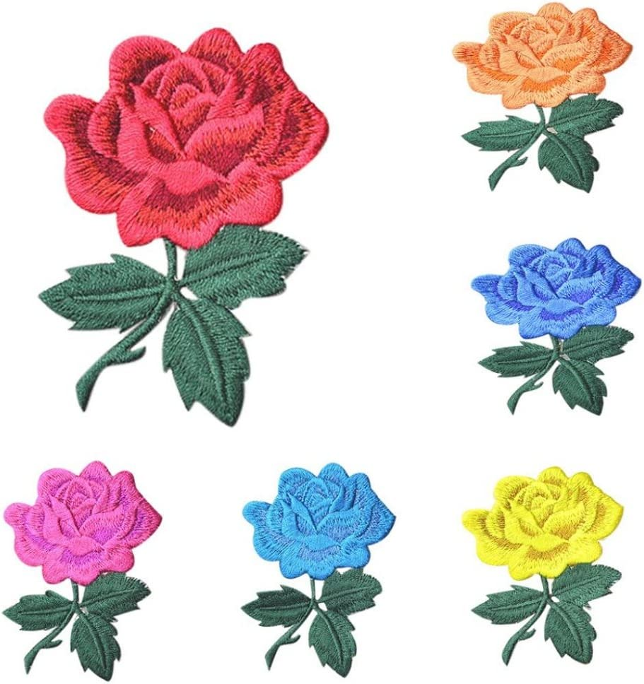 Vintage Embroidered  Blue Half Rose Flower Appliques Set of 2