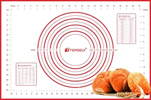 TERSELY Large Silicone Pastry Baking Mat (40x60cm) with Measuring Guide ,Extra Thick Non-Stick Fondant Mat, Counter Mat, Oven Liner, Pie Crust Mat, Reusable Rolling Pastry Mat Dough Mat for Kitchen (Red)