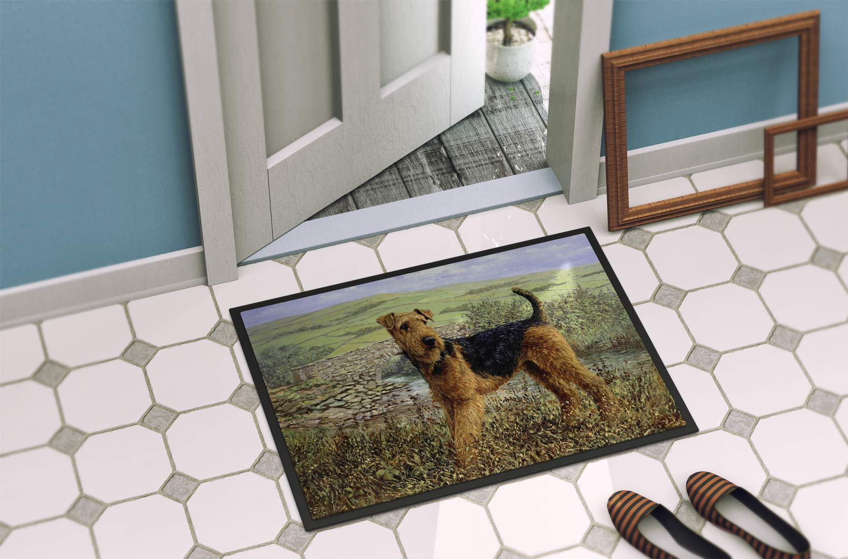 Caroline's Treasures HMHE0245MAT Airedale Terrier The Kings Country Indoor or Outdoor Mat 18x27, 18H X 27W, Multicolor 2