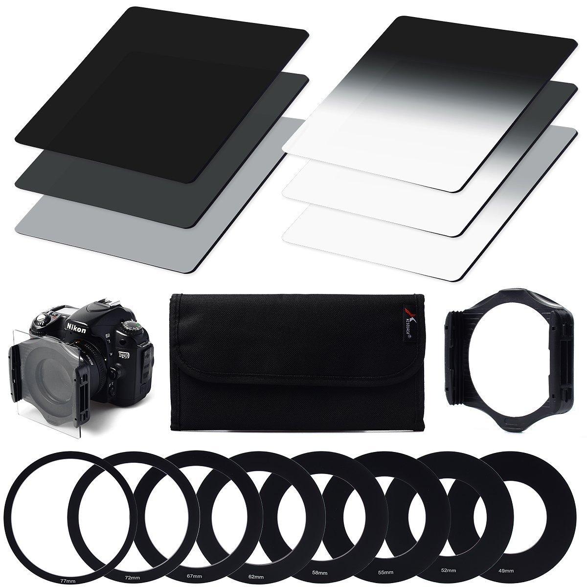 XCSOURCE® 6 Piezas ND2 ND4 ND8 Graduales ND2 4 Set de 8 Filtros + 9 Piezas Anillo Adaptador para Cámara Cokin P Canon Nikon Sony LF6 LF006