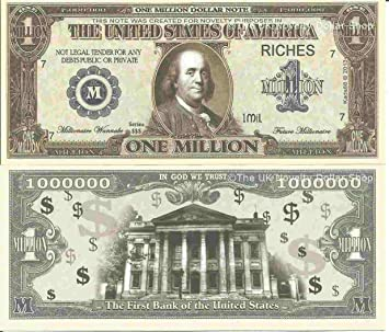 Classic Rock Music Set of 20 Million Dollar Bill Novelty Notes with FREE SLEEVES