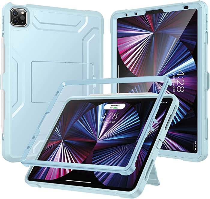 Soke Case for iPad Pro 11 2021 with Built-in Screen Protector - Support 2nd Apple Pencil Charging - Heavy Duty Rugged Protective Kickstand Case for iPad Pro 11 Inch 3rd Generation - Sky Blue