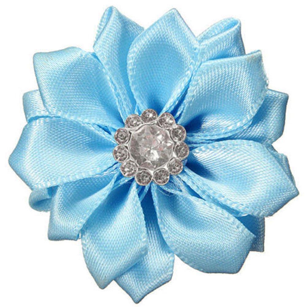Greenlans 10 Pcs Satin Ribbon Flowers Shiny Rhinestone Appliques DIY Wedding Craft Diameter 4cm