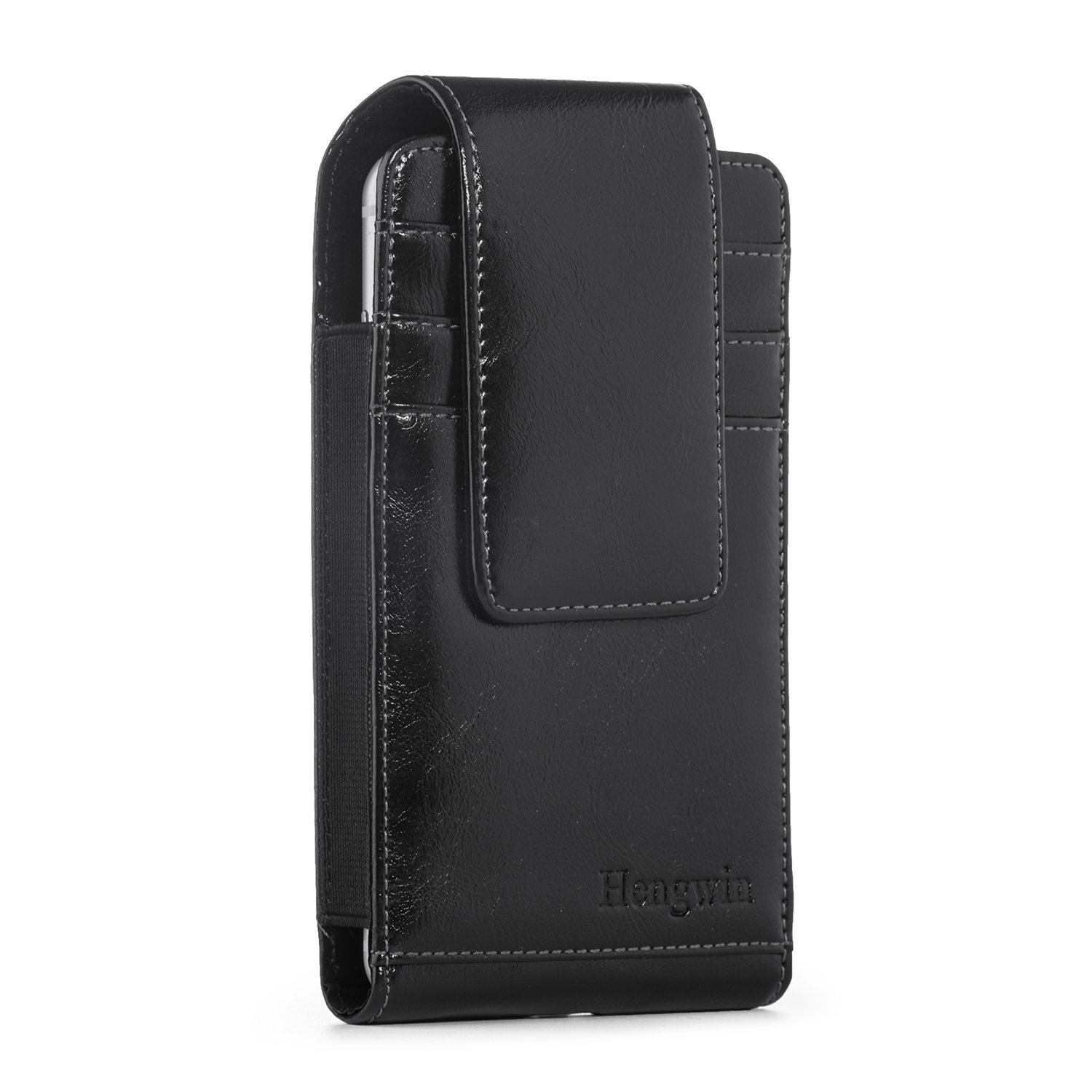 iPhone 7 Plus Holster Case, Vertical Smooth Oil Wax Leather Carrying Case Belt Case for iPhone 6S Plus Smart phone Holster Sleeve Belt Loop Holster Pouch Wallet Case with 3 Card Slots-Black Hengwin 4326529478