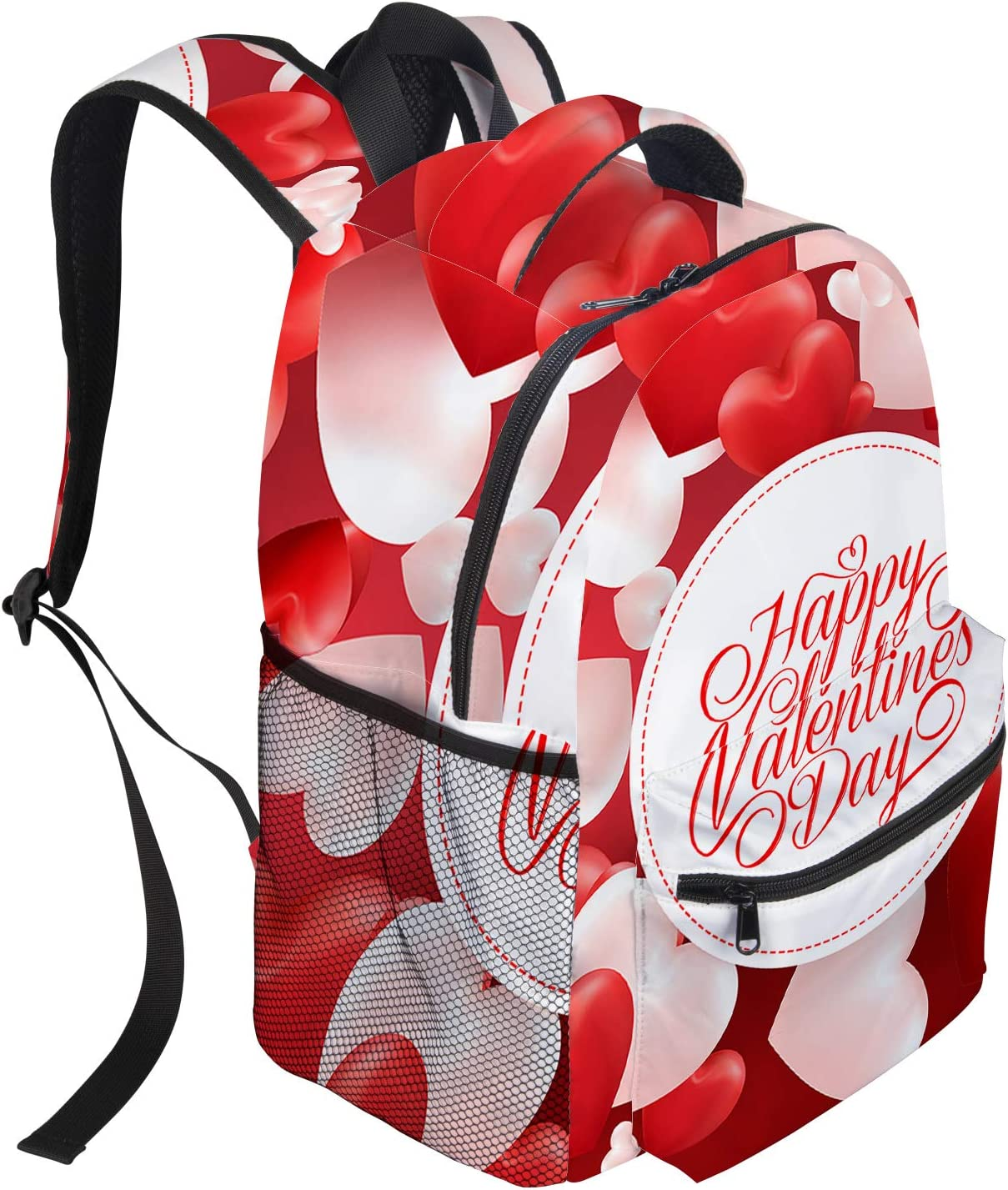 Little Girl And Heart Shaped Balloon Unique Outdoor Shoulders Bag Fabric Backpack Multipurpose Daypacks For Kids