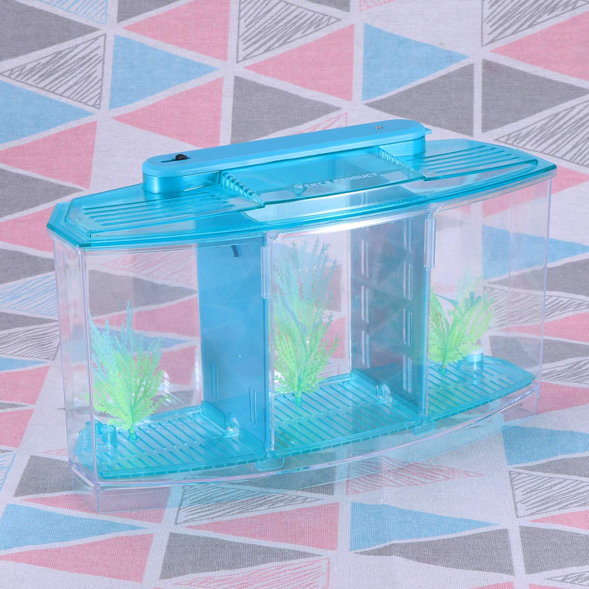 POPETPOP Mini Desktop Aquariums Fish Tank Ecological Goldfish Tank Hatchery Breeder Box for Living Office and Home dÃcor(Blue) by POPETPOP (Image #7)