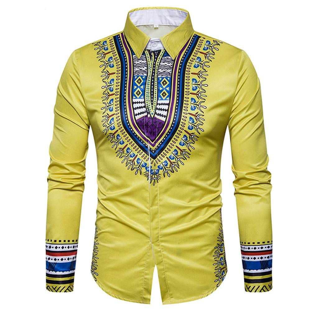 GREFER Men's Tops Hot Sale African Print Long Sleeved T Shirt Blouse Crew Neck Pullover by GREFER