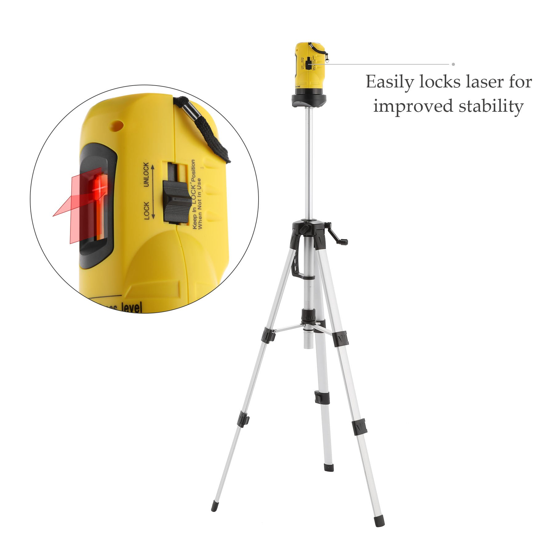 CO-Z Laser Level with Tripod, Auto Leveling Kit Combo with Horizontal/Vertical/ Cross-Line, Dual-module Self-Leveling Tool Set for Builders & Contractors by CO-Z (Image #4)