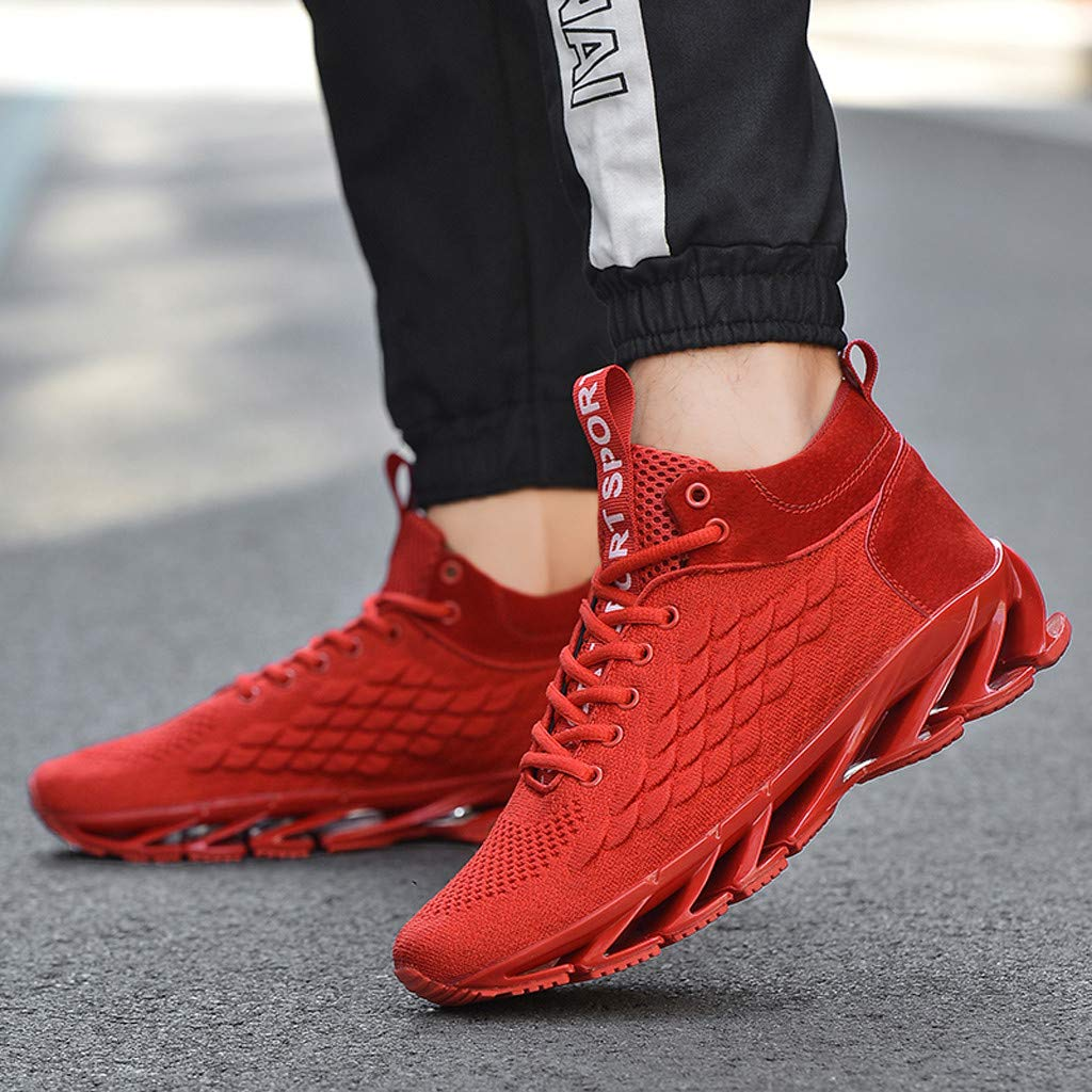 Mosunx Men Mesh Running Shoes Lightweight Sneakers Breathable Spring Blade Lace Up Gym Athletic Walking Shoes Low Top Basketball Shoes