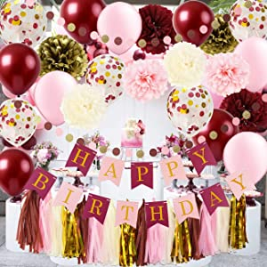 Qian's Party Burgundy Pink Birthday Party Decorations Burgundy Pink Gold Birthday Decorations Tissue Paper Pom Pom Happy Birthday Banner/Burgundy Pink Gold Confetti Balloons/30th Birthday Decorations