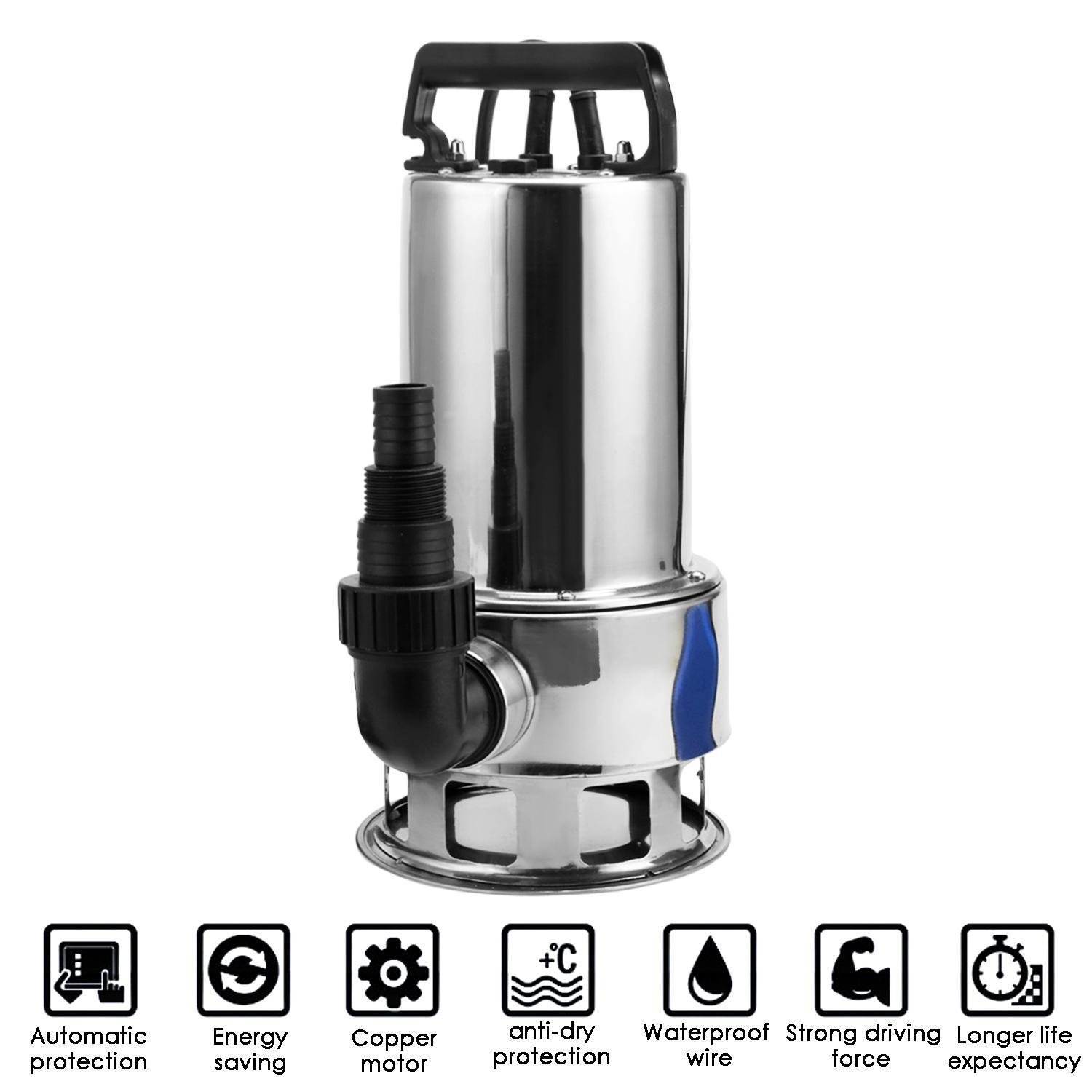 ThinIce 1.5 HP Stainless Steel Submersible Sump Pump Clean Dirty Water Pump with 15ft Cable and Float Switch 1100W (US STOCK) by ThinIce (Image #4)