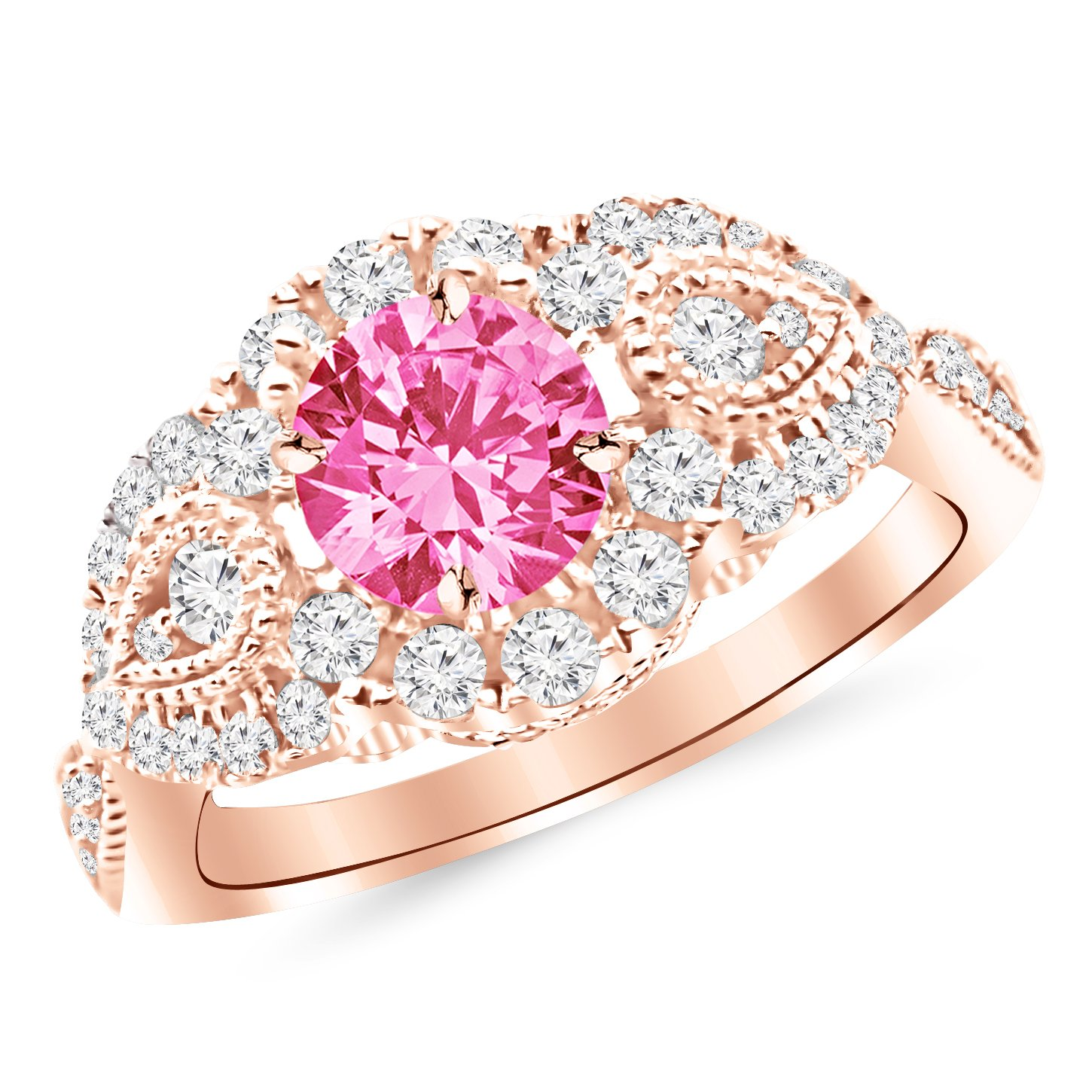 Designer Vintage Halo Diamond Engagement Ring with a 1 Carat Pink ...