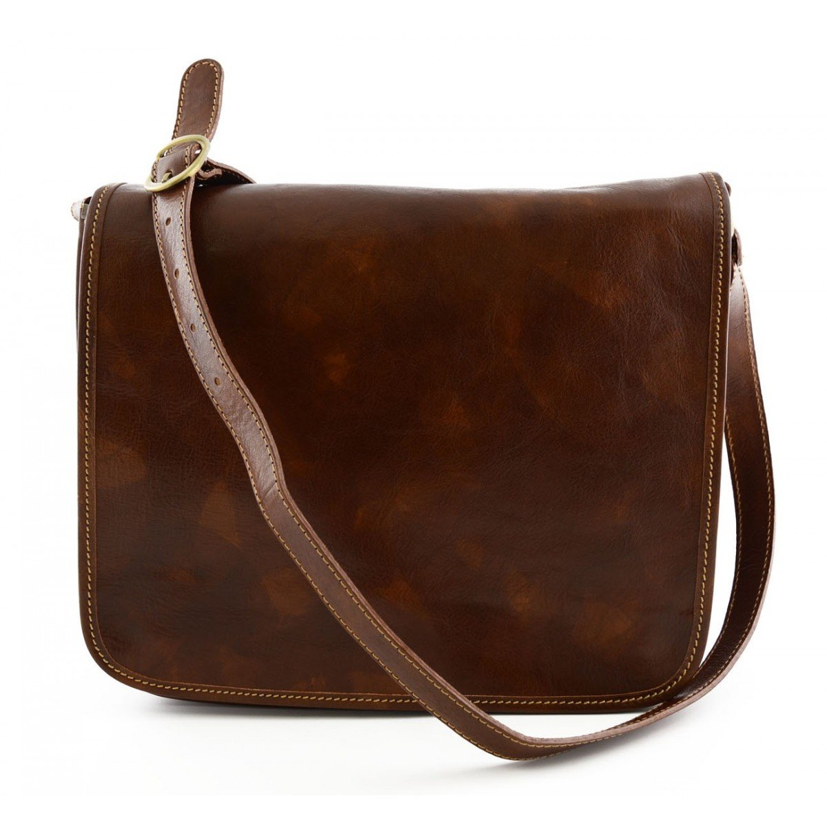 Made In Italy Genuine Leather Messenger Bag 2 Compartments Color Brown - Man Bag B01BL5AVPQ