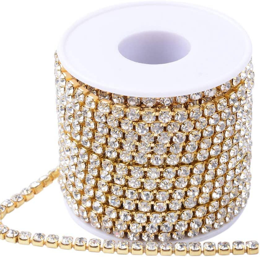 Veil Clothing Cake Vase Sewing PH PandaHall 1 Roll 4 Yard 2.2mm Crystal Sapphire Rhinestone Close Chain Clear Trimming Claw Chain Gold Cup Bead Chain Craft and Decoration Chains for Jewelry