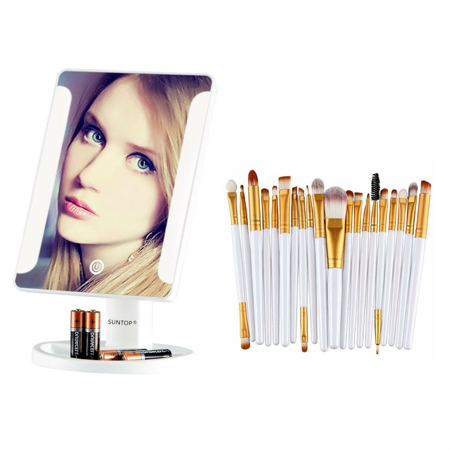 White Makeup Mirror with 8 Led Vanity & 20 Gold brushes set