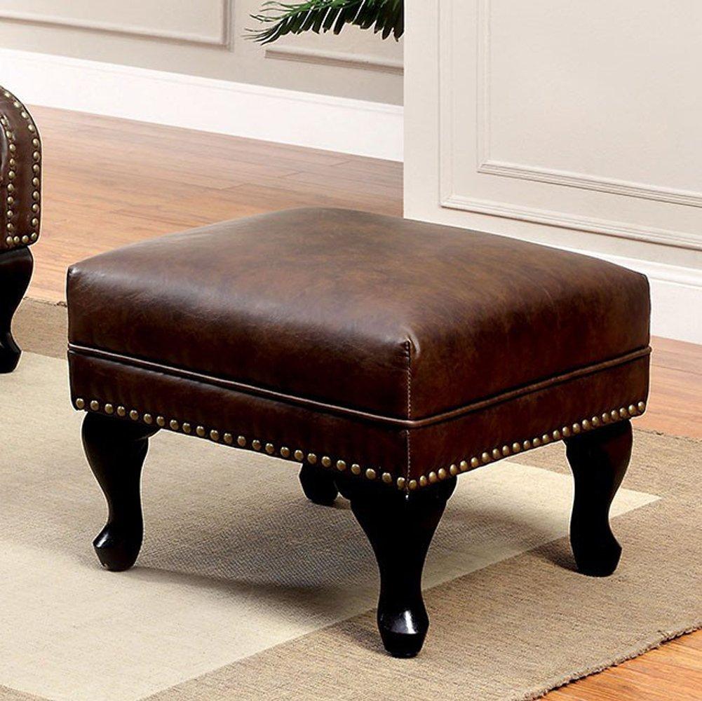 Furniture of America CM-AC6801BR-OT Vaugh Rustic Brown Ottoman Living Room by Furniture of America