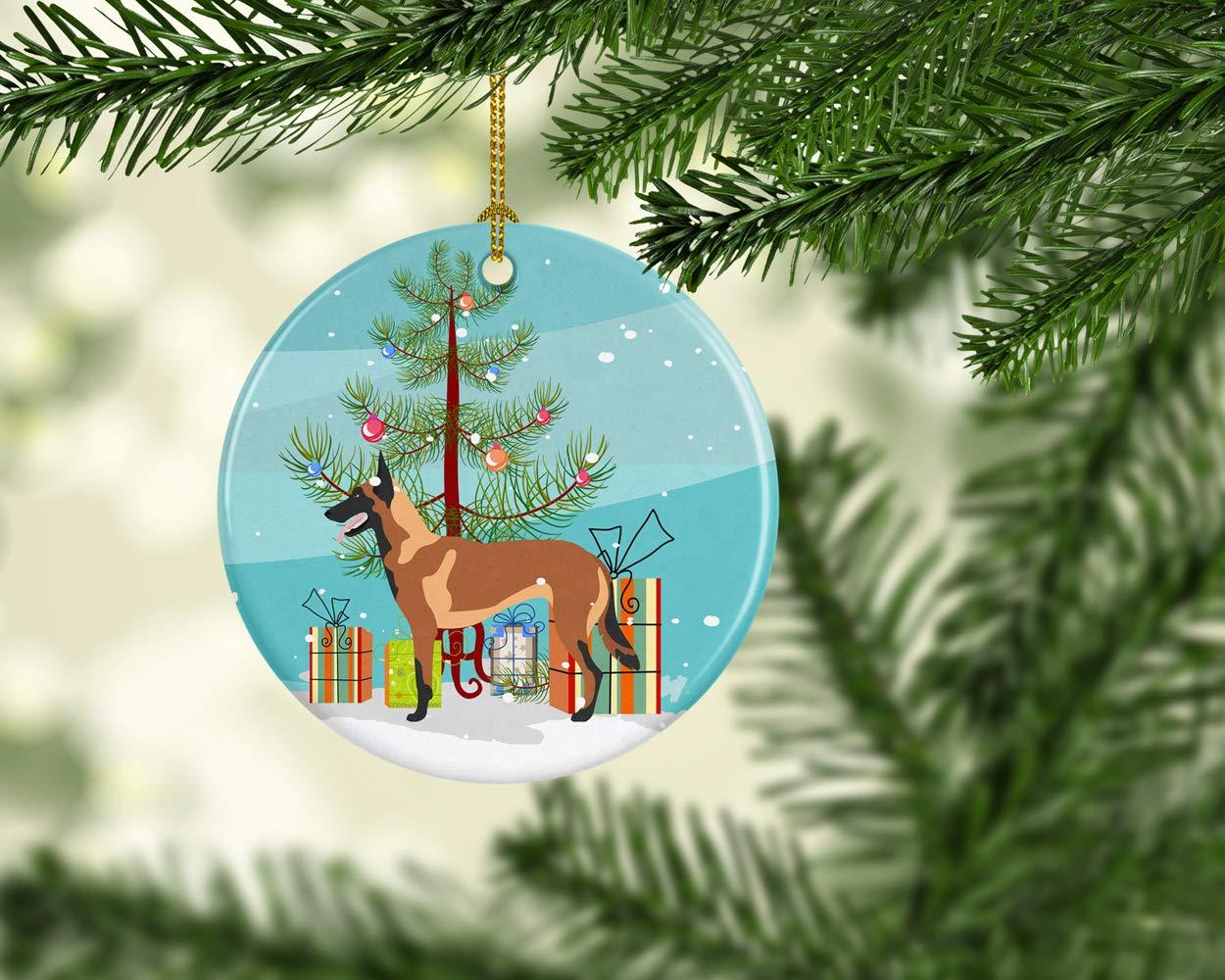 Carolines Treasures BB8494CO1 Malinois Belgian Shepherd Christmas Ceramic Ornament Multicolor 3 in