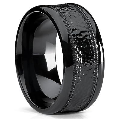 10MM Black Hammered Milgrain Wedding Band Wide Ring Comfort Fit Size 95