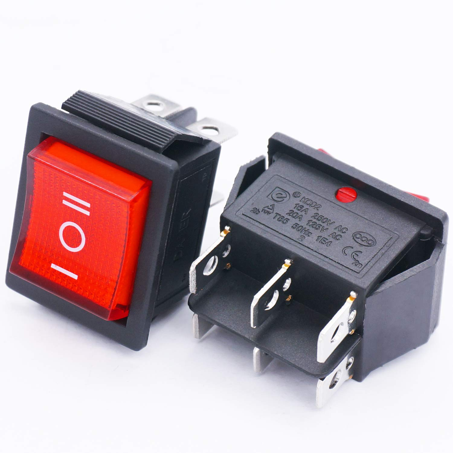 Red Illuminated 16A 250V AC//20A 125V AC Car Auto Boat Rocker Toggle Switch ON KCD2-223NR Quality Assurance for 1 Years -Off- ON TWTADE // 2Pcs DPDT 6 Pin 3 Position Momentary Boat Rocker Switch