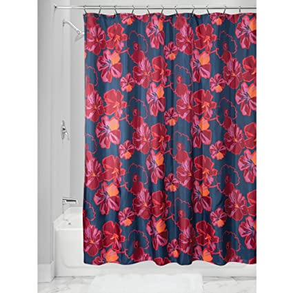 InterDesign Ink Floral Fabric Polyester Shower Curtain 72quot X Navy