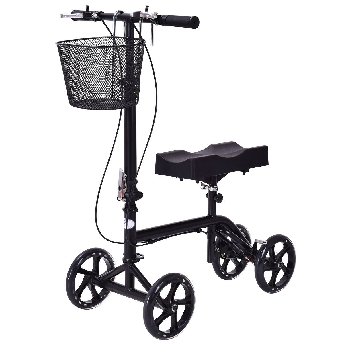 Goplus® Heavy Duty Knee Walker Steerable Knee Scooter Foldable Medical Knee Cycle Leg Walker Crutch W/ Deluxe Brake System & Basket in Black