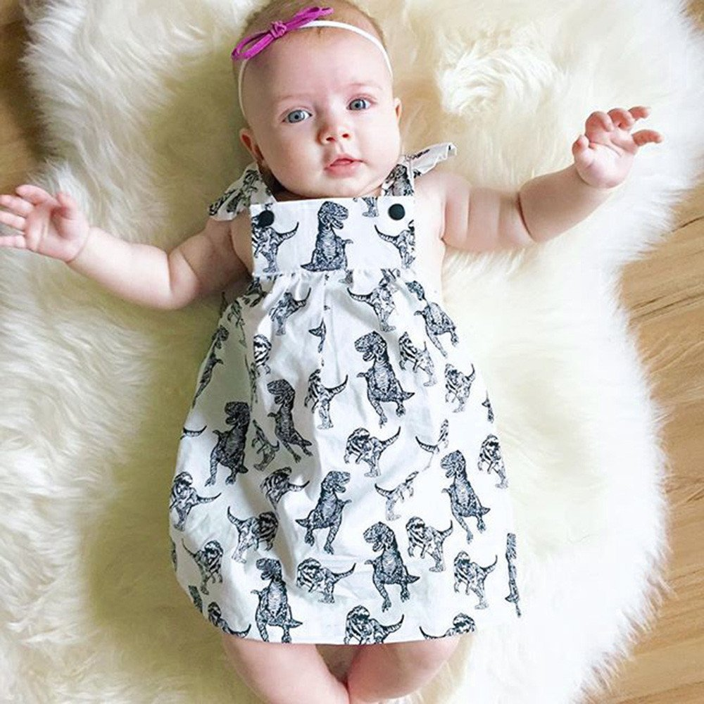 MITIY Baby Girls Infant Toddle Cartoon Dinosaur Printed Bow Sleeveless Clothes Princess Dress