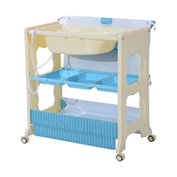 HOMCOM Folding Bath Tub Station Changing Table Padded Baby Changer