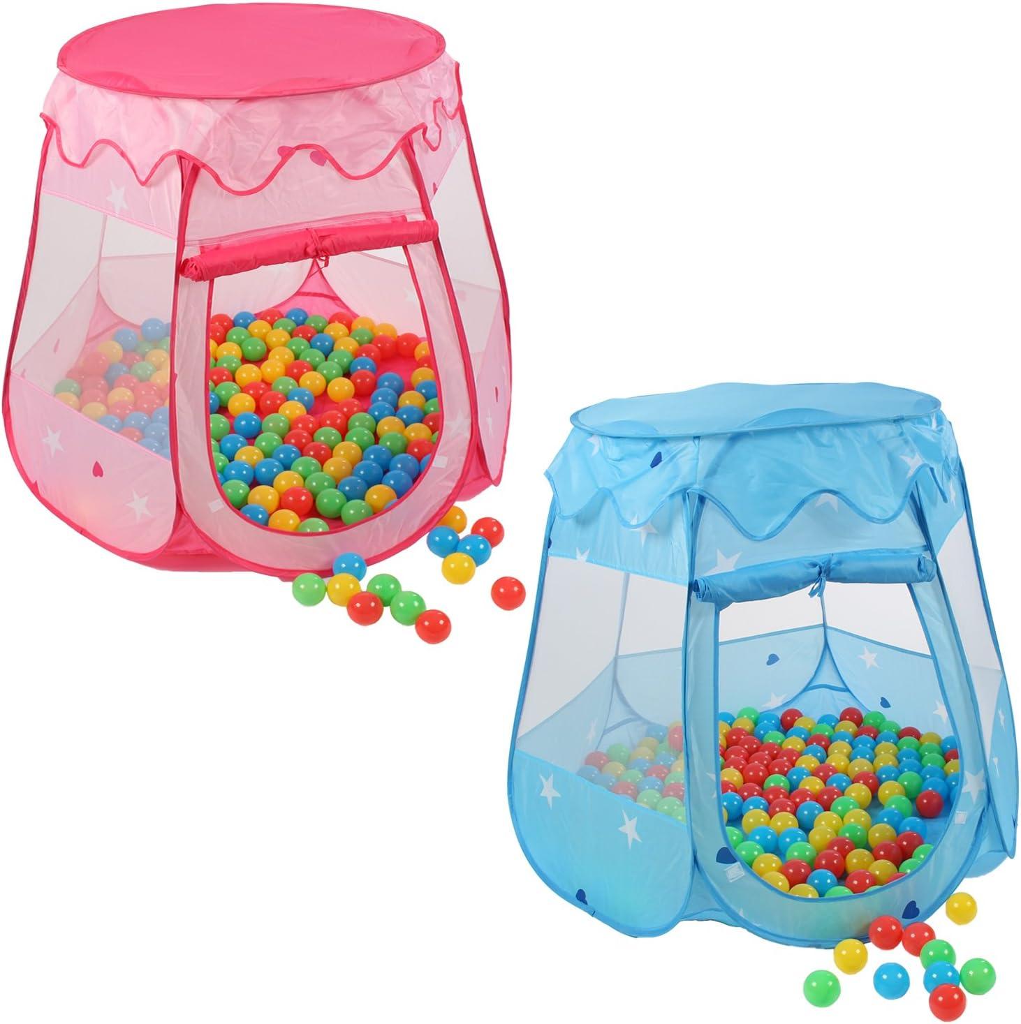 KIDUKU® Tienda de campaña Infantil + 100 Bolas + Bolsa casita de Tela para Jugar Piscina de Bolas Castillo para Interior y Exterior (Rosa)