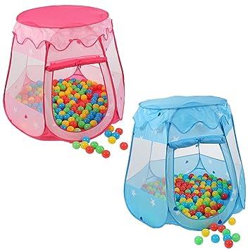 KIDUKU Tienda de campaña infantil + 100 bolas + bolsa casita de tela para jugar piscina de bolas castillo para interior y exterior (Azul)