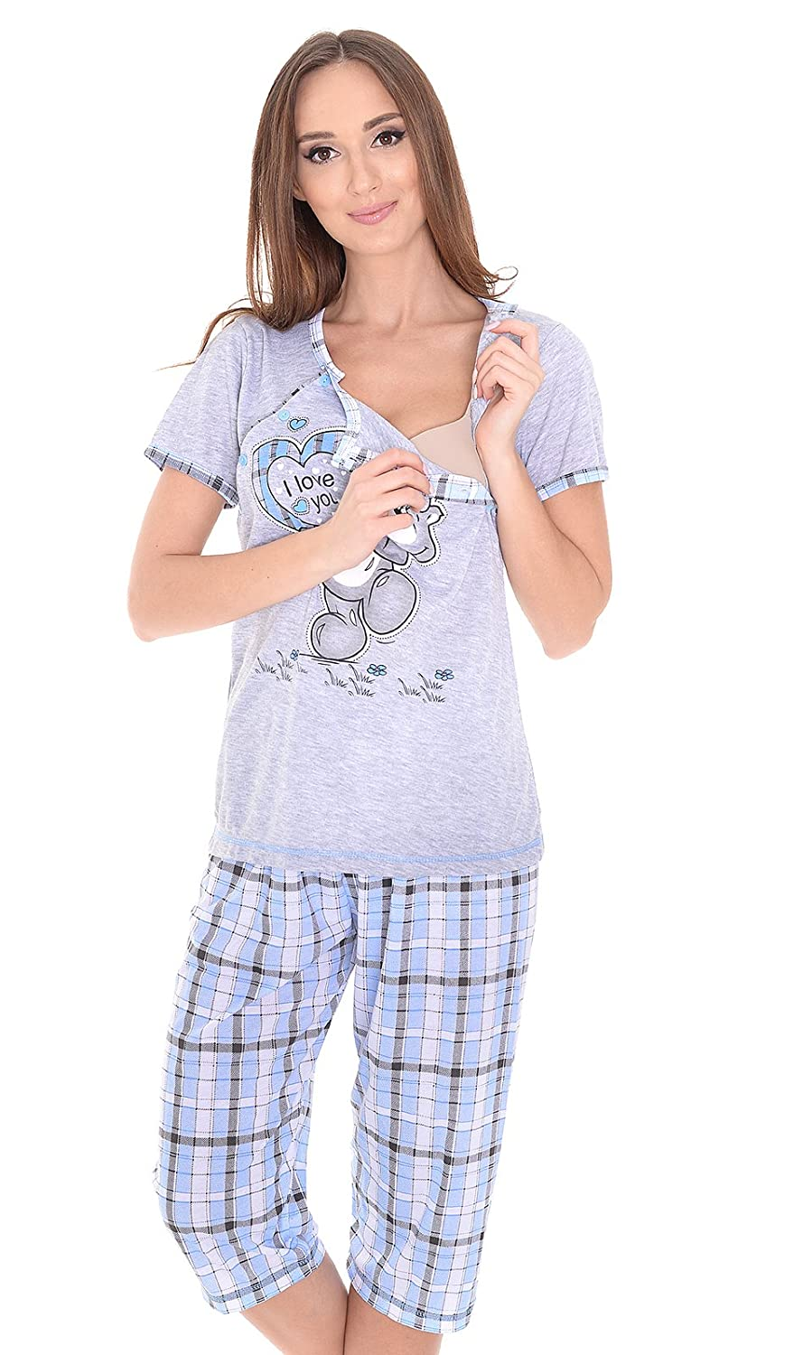 MijaCulture - 3 in1 Maternity and Nursing 2-Peace Pyjama Set 2072