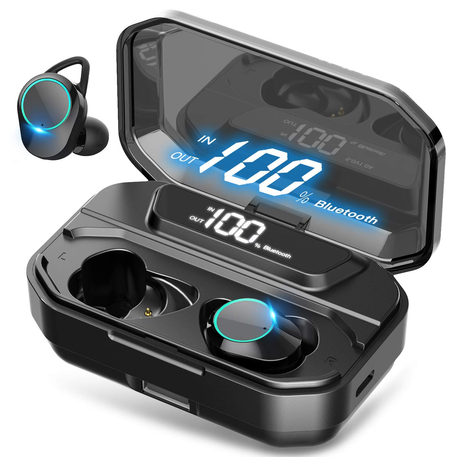 2019 Ultimate True Wireless Earbuds Bluetooth 5.0 Headphones, IPX7 Waterproof Earphones for Sports, 110H Playtime w 3300mAh Charging Case, 3D Stereo Audio Touch Control in-Ear Headset w Mic