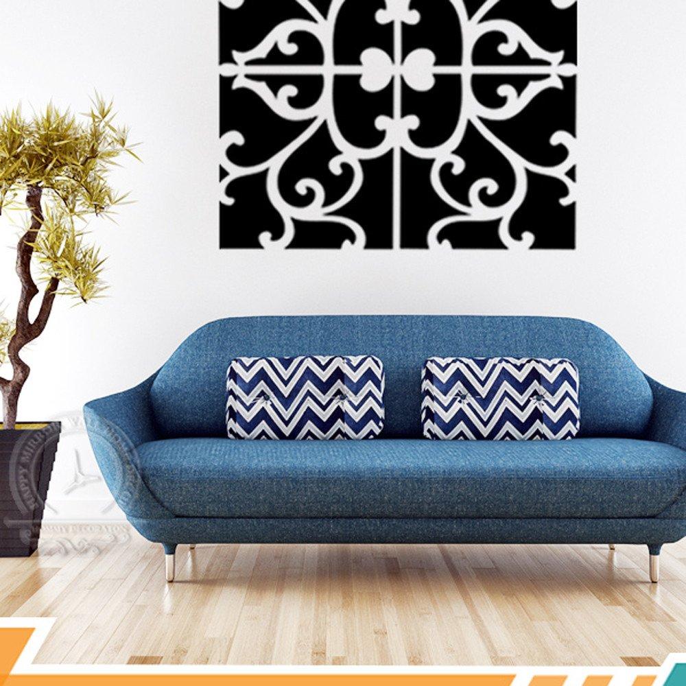 32x Mirror Tile Wall Sticker Square Self Adhesive Room Decor Stick Art Home DIY