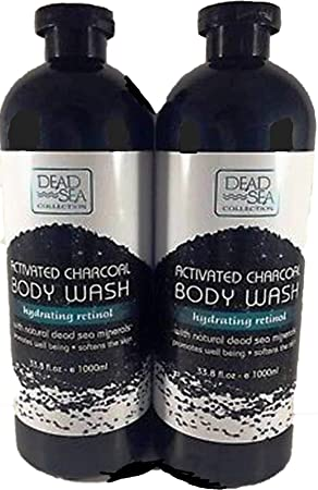Dead Sea Collection Deep Activated Charcoal Body Wash with Dead Sea Minerals Retinol LARGE 33.8 Oz 2 Pack