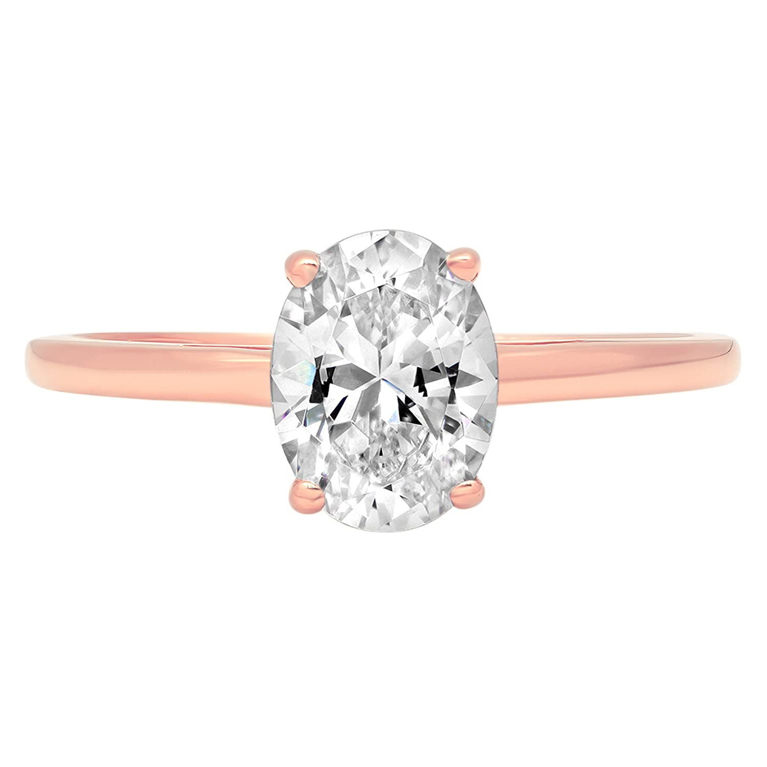 0.9ct Brilliant Oval Cut Solitaire Classic Engagement Anniversary Statement Wedding Promise Bridal Petite Ring in Solid 14k Rose Gold for Women