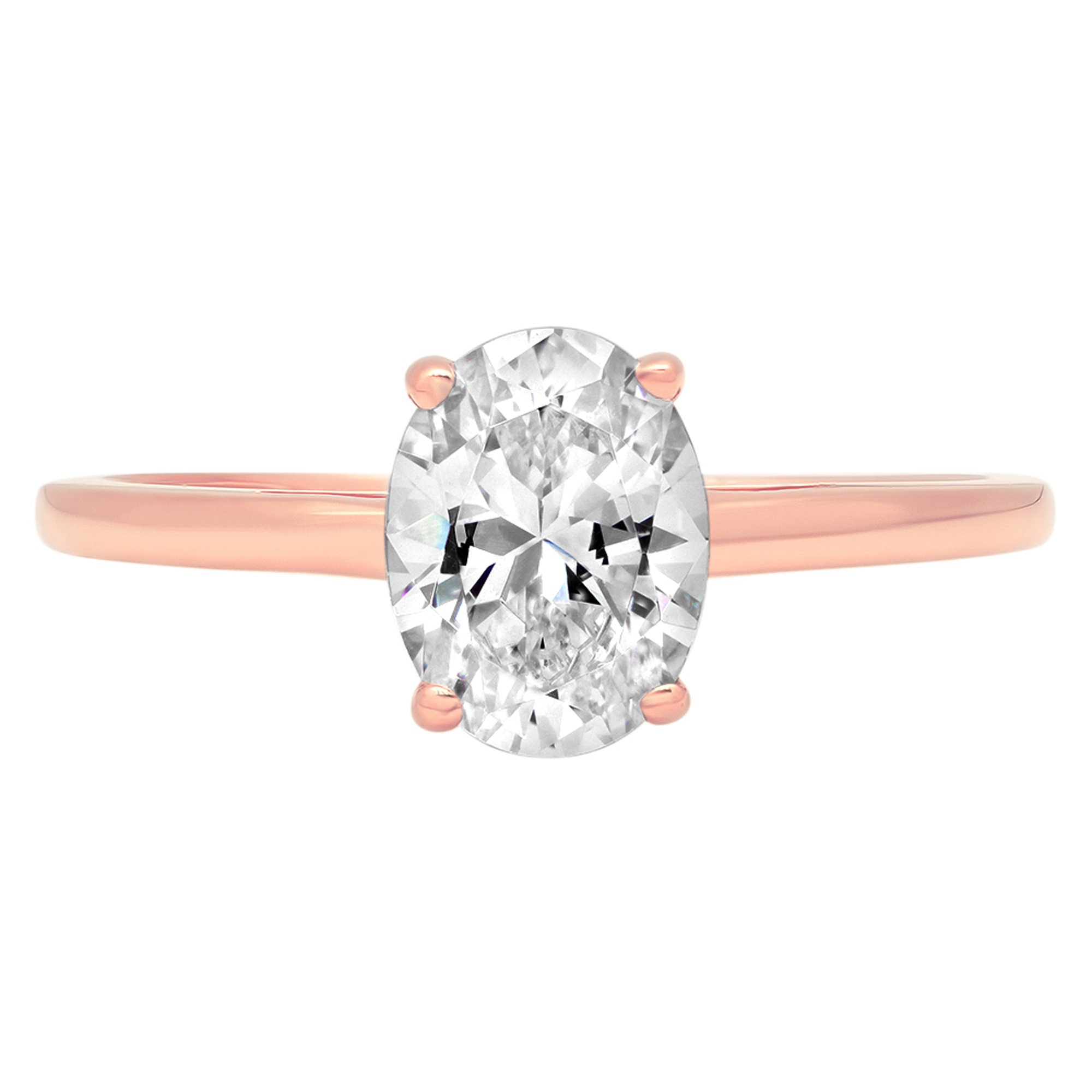 1.1ct Brilliant Oval Cut Solitaire Classic Statement Simulated Diamond Petite Ring in Solid 14k Rose Gold for Women, 8.75